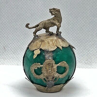 Old Green Jade Dragon Ball Antique Chinese Style Silver Tone Zodiac Figure