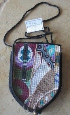 SOPHIA handpainted needlepoint evening bag purse art deco -self finiish htf