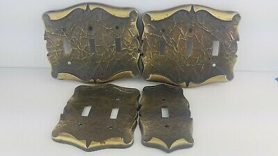 4 Piece Used Set VINTAGE Amerock Carriage House Brass Light Switch COVER Plates