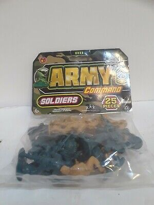 "Army Men Plastic Soldiers 25 Pieces 2"" Green Tan Military Toys New In Bag USA"