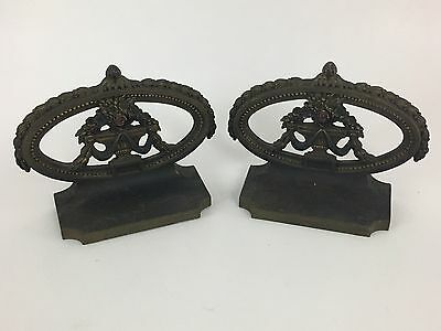 Excellent Vintage Bradley Hubbard Bookends, Floral Urns,  circa 1920s painted