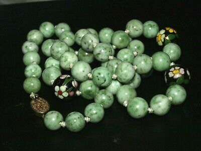 "Beautiful Antique Chinese Green White Jade, Cloisonné Beaded Necklace 30"" Long"