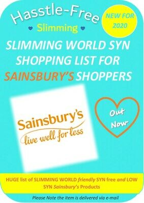 💕Sainsbury's Slimming World Free/Low SYN Shopping List *Paper Edition💕
