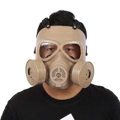 Airsoft Gas CS Mask Edition Perspiration Double Filter Fan Dust Face Guard Black