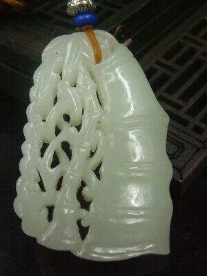 Antique Chinese Nephrite Celadon Hetian-OLD jade Hollow Bamboo Statues/Pendant
