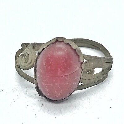 Ancient Or Medieval Brass Ring Red Glass Center Stone European Artifact Antique