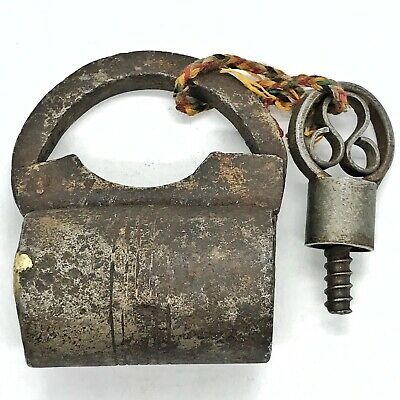 1700-1800's Antique Post-Medieval Indo-Persian Iron Lock & Key Artifact Castle