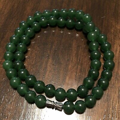 Chinese Green Nephrite Jade Necklace Jewelry Asian Imperial Style Gemstone $400