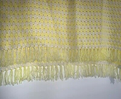 Vintage Handmade Afghan Knitted Yellow White Baby Throw Blanket 36X54 W Fringe