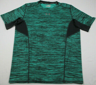 UNDER ARMOUR HEAT GEAR Men's S/S COMPRESSION Shirt Heather Green Gray Size 2XL