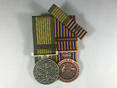Set of 2 Replica Court Mounted Long Service National Emergency Medal Vic Fires +