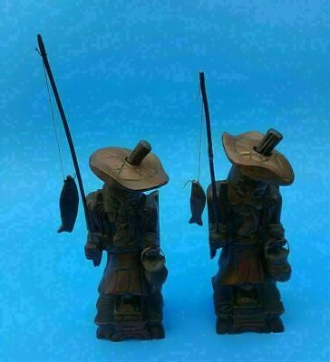 "VTG Lot of 2 Asian Chinese Old Fisherman 8"" Carved Wood Figurine w/ Fish & Pole"