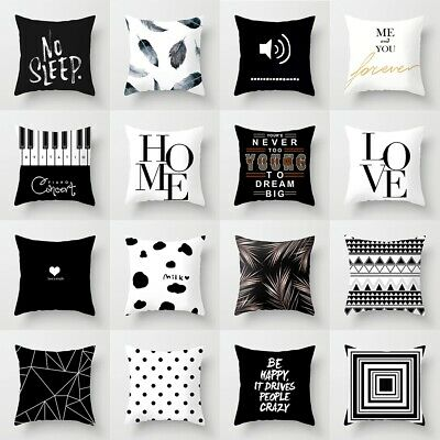 Black & White Geometric Throw Cover Polyester Pillow Cushion Square Case Decor