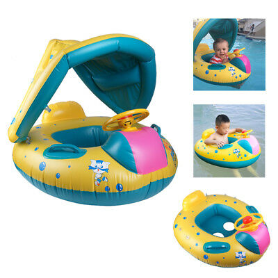 Baby Kids Swimming Boat Pool Inflatable Floats Ring with Sunshade Canopy Seat