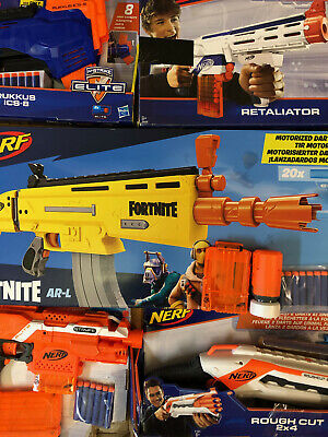 5 Nerf Gun Bundle in excellent condition with 40+ darts Fortnite AR - L