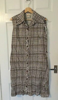 Vintage St Michael Brown And Cream Shirt Dress Size 18