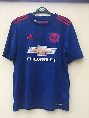 Manchester United Shirt Blue Boys 15-16 Years Excellent Condition Hardly Worn