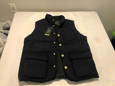 NWT $398.00 Polo Ralph Lauren Mens Wool / Down Puffer Vest Navy Blue Size LARGE