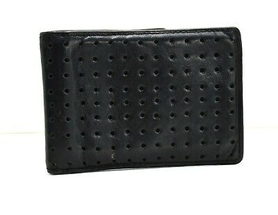 Oakley Mens Bifold Perforated Leather Card Wallet Black