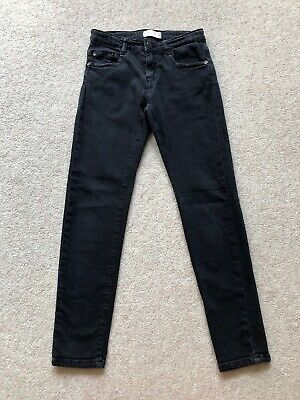 Zara Kids Boys Skinny Jeans Faded Black Size 8 With Adjustsble Waistband