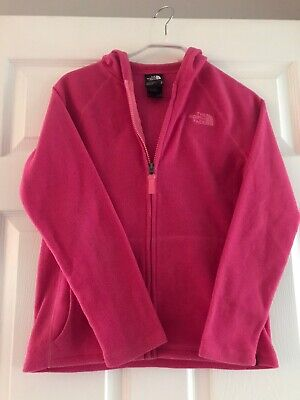 The North Face sz M (Medium Age 10/12) Pink Winter Soft Fluffy Fleece Jacket VGC