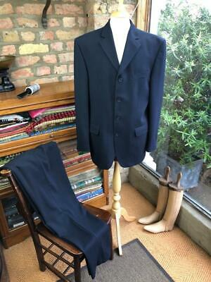 RIVER ISLAND UK 40R W34L32 Navy Blue Monochromatic Stripe 2-Piece Suit