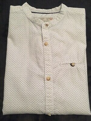ZARA Boys light Blue mandarin shirt roll up long sleeves. size 13/14 164cm.