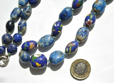 Fabulous Necklace of Antique Blue Chinese Cloisonné & White-Veined Lapis Beads