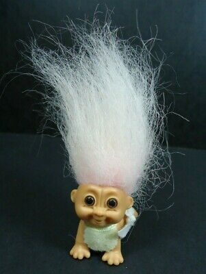 """2/"""" Russ Troll Doll NEW IN ORIGINAL WRAPPER STANDING BABY WITH BIB"""