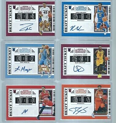 2019 Panini Contenders Draft Picks Basketball (13) Auto Lot, SP RED AUTOGRAPHS