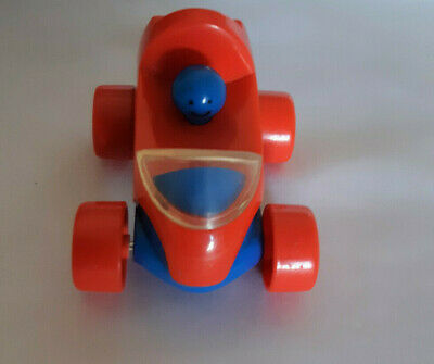 ELC Small Red Car with Blue Smiley Face Driver - 3 ins - Rare