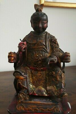 Old Chinese Hand Carved Wooden Statue of a Royal Court Official