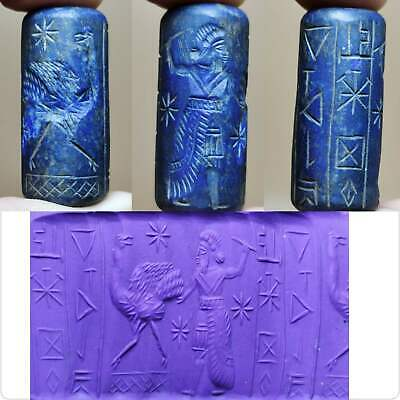 Sassanian Old Lapis lazuli king intaglio Stone seal inscription BEAD # 138
