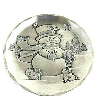 Vtg Wendell August Forge Christmas Plate Snowman Hand Hammered Collectible W/Box