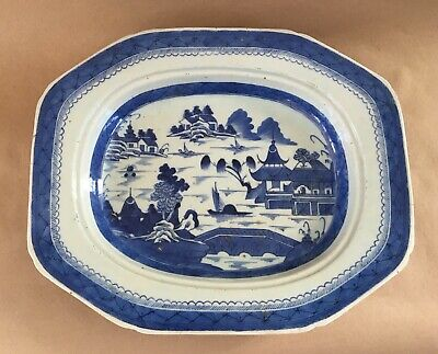 """Antique 19th Century Chinese CANTON 15 1/2"""" Large Octagonal 21/2"""" Deep Platter"""