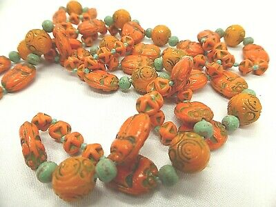 Vintage Art Deco Czech Max Neiger Orange Glass Scarab Beads Necklace