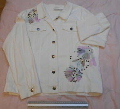 Erin London Ladies White Denim Jacket with Pink/Purple Embroidery