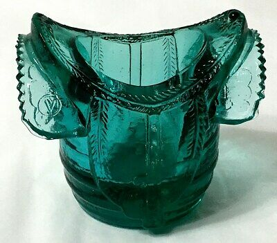 Eapg Green Glass Saddle Toothpick Holder Pattern Was Circa 1892-1900