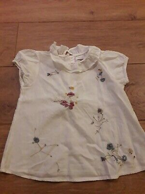 Next Girls Cream Floral Short Sleeve Blouse Age 4-5