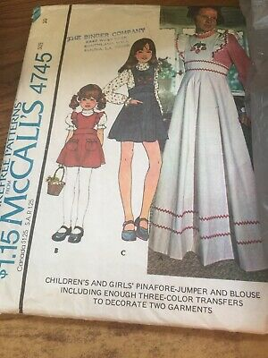 Mccalls 4745 Girls Pinafore Jumper And Blouse Size 10 Cut