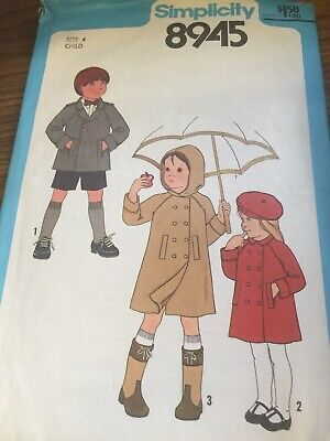 Simplicity 8945 childs Coat , Jacket And Hat Size 4 Cut
