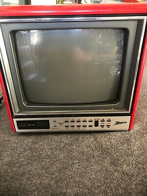 "ViINTAGE ZENITH 9"" Portable Television CHERRY RED tv D0920D   cube retro WORKING"