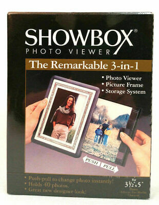 Burnes Showbox Photo Viewer 3-in-1 Charcoal Color Holds 40 photos 3.5 x 5 Sealed