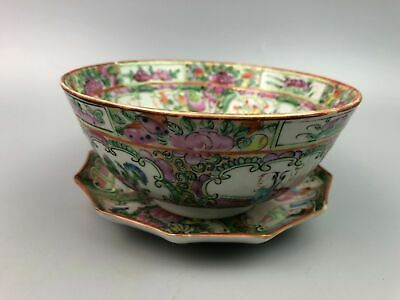 Antique Chinese Export Canton Rose Medallion Bowl & Saucer Plate