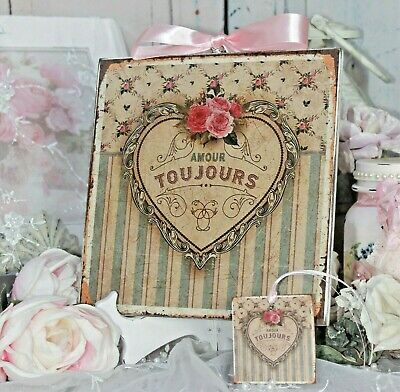 "Shabby Chic Vintage French Country Cottage style Wall Decor Sign ""Amour Toujour"""