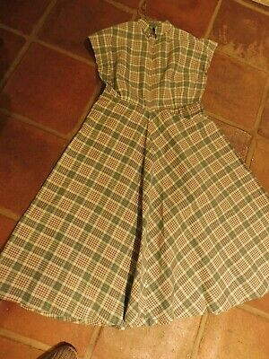 Vintage 1940's ladies day dress in green check