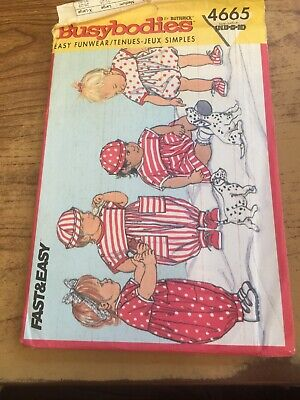 Butterick 4665 Busy Bodies Nb-sm-med Baby Outfit Uncut