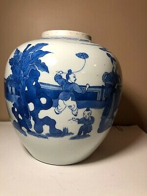 Large Authentic Chinese Kangxi 17c-18c Blue and White Porcelain Jar Estate Find