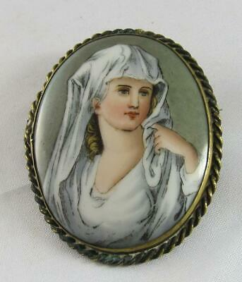 Antique Hand Painted Beautiful Veiled Woman Portrait Porcelain Brooch Pin