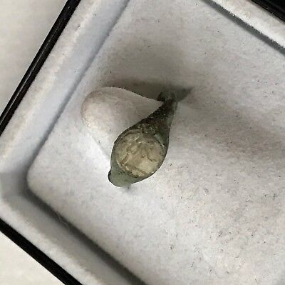 RARE Superb Ancient Roman Baby Bronze Seal Ring With Glass Intaglio Of A God
